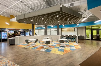 a colorful, textural breakroom space
