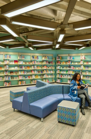 A Reading area with books and comfortable seating
